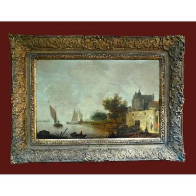 Wouter Knyff Knijff (wesel 1607-1639 Haarlem) Paysage Fluvial - Monogrammé Et Daté