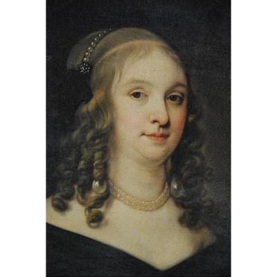 Gerrit Van Honthorst  Utrecht 1592 - 1656   attr.   Portrait d'Une Noble Femme