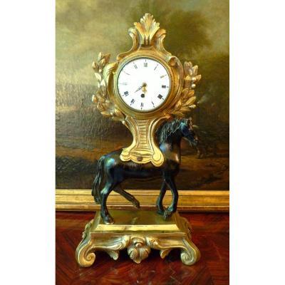 Horloge De Table Pendule Cheval Louis XVI Vers 1780  H. 27 Cm Signé Milot A Paris
