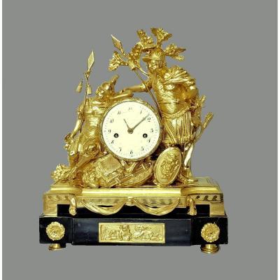 Grande  Pendule  Guerrier      Louis XVI  Vers 1780    H. 50 Cm, L. 41,5 Cm