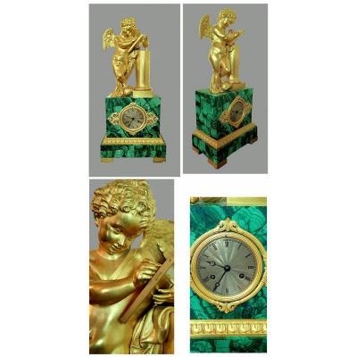 Grande  Rare  Malachite  Pendule    Empire  1820  SignÉ Lenoir -  Ravrio Bronzier  A Paris