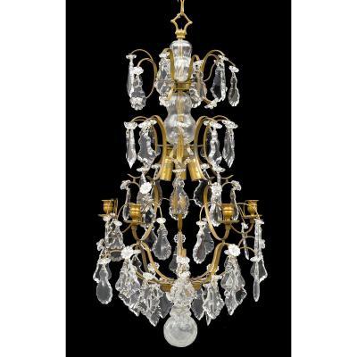 Lustre De Cristal  Louis XIV  Dernier Quart Du XIXe Siècle        H. 80 Cm