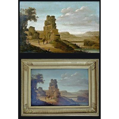 Dirck Verhaert Haarlem 1610- Leyde 1675     Large Paysage Fluvial    Huile Sur Bois