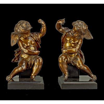Paire Sculptures En Bronze Les Anges Assis Jean-baptiste Pigalle Attr. Vers  1750 Louis XV