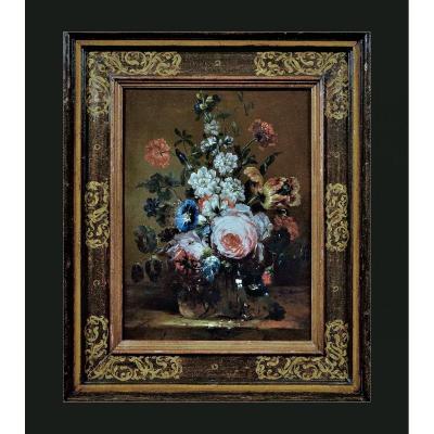 Nicolas Baudesson (troyes 1611 - Paris 1680)     Nature Morte En Fleurs Dans Un Vase En Verre