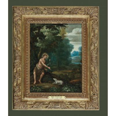 Gillis Van Coninxloo 1544-1607    Jean-baptiste    Huile Sur Cuivre  29,5 X 23 Cm Ou 44 X 37 Cm