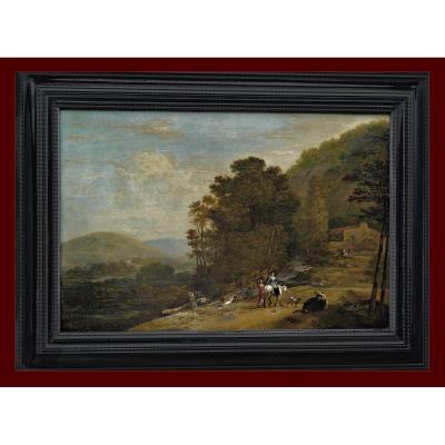 Jan Dirksz Both 1610/1618 – 1652  attr.    Paysage Fluvial Italien Avec Personnages