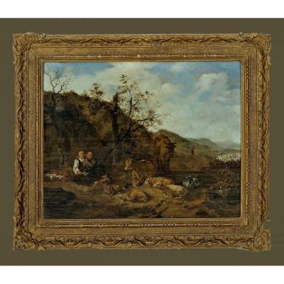 Hendrick Mommers 1623-1693     Pastorale Paysage Avec Des Bergers   Huile Sur Panneau
