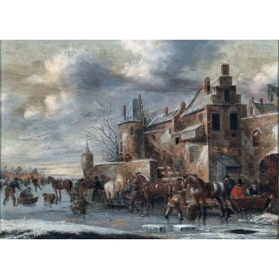 Thomas Heeremans 1641-1694 Have Fun With Ice Creams Winter Landscape Signed
