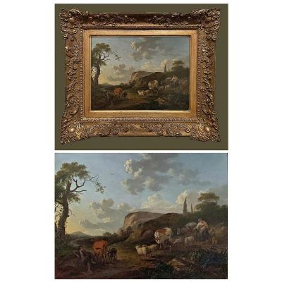 Franciscus Xaverius Xavery 1740- Around 1788 Pastorale I Oil On Wood Panel 39.5 X 30