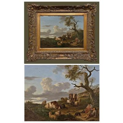 Franciscus Xaverius Xavery 1740- Around 1788 Pastorale II Oil On Wood Panel 39.5 X 30