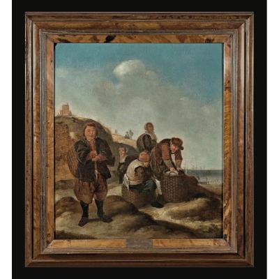 Klaes Molenaer Haarlem 1630-1676  Le Retour Des Pêcheurs  Huile Sur Bois