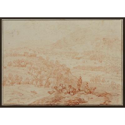 Nicolaes Pietersz. Berchem 1620-1683   Pastorale  Dessin à La Craie Rouge 20 X 28,5 Cm  Signé