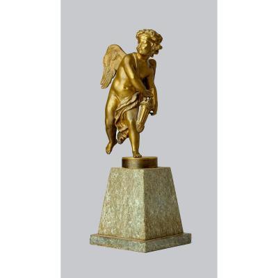 Amor Empire Vers 1825  Bronze Patiné Sur Socle De Marbre  H. 50 Cm