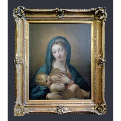Sebastiano Conca  (1680-1764) - Madone avec l'enfant Jésus - Signé et daté