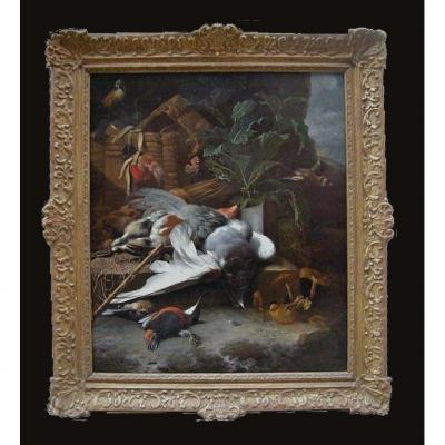 Melchior De Hondecoeter 1636-1695 Nature Morte Avec Oiseaux Vers 1660 Expertise Dr. Meijer