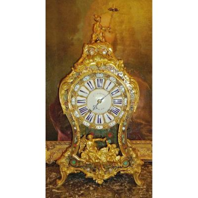 Boulle Marquetry Clock Louis XV Around 1750 Signed