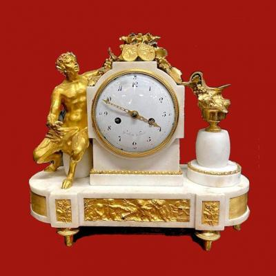 Large Louis XVI Clock Circa 1780 The Dial Signed Grebert In Paris H. 50 Cm