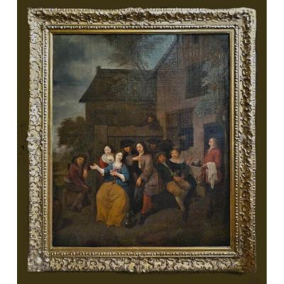 Theodorus Netscher 1661-1728  Devant La Taverne   Huile Sur Toile  Monogramme Et Date