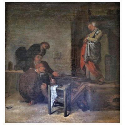 Reyer Van Oosterzaen Haarlem 1635-1702  A l'Auberge  Huile Sur Panneau 33,5 X 35,5 Cm