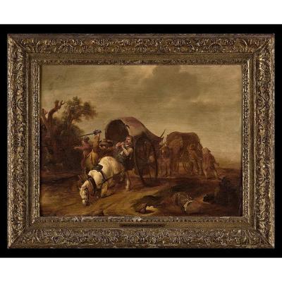 Jan Van Der Stoffe 1611 Leyde - 1682 Leyde  l'Attaque Des Maraudeurs  Signé