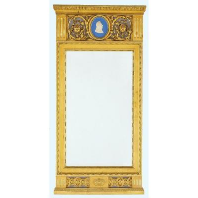 Miroir Suède Louis XVI Vers 1800     H. 102 Cm, L. 50 Cm