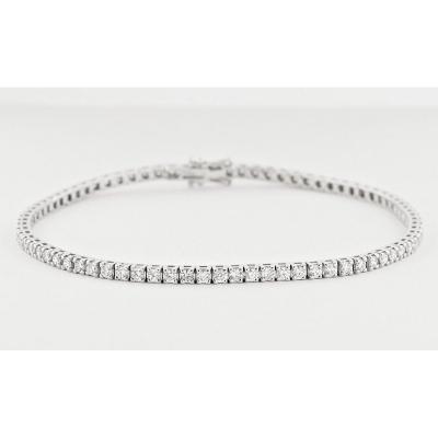 Bracelet, Or Blanc 18k, Rivière , 79 Diamants Taille Brillant 2.42 ct. qualité FG (TW) / VS-SI