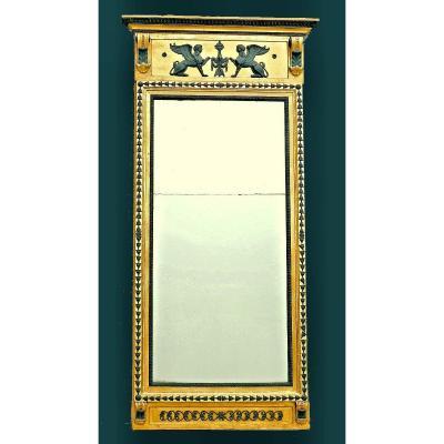 Large Miroir Empire Suède Vers 1810   Signé Jonas Frisk Maître à Stockholm 1805-1824  183 Cm