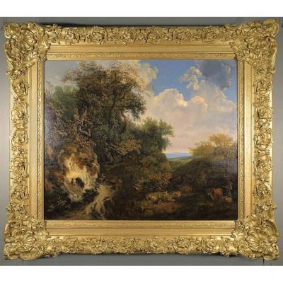 Willem De Heusch 1625-1692   Paysage Pastorale     Huile Sur Toile