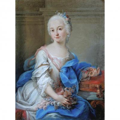 Rosalba Carriera 1673-1757 Attr.   Portrait d'Une Femme Noble (flora ?)   Pastel