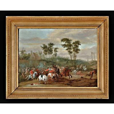 Pieter Meulener 1602-1654  Scène De Combat  Huile Sur panneau Monogrammé et daté