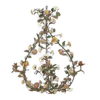 Superbe Lustre Louis XV Vers 1760  Les Fleurs En Porcelaine Meissen Vers 1750