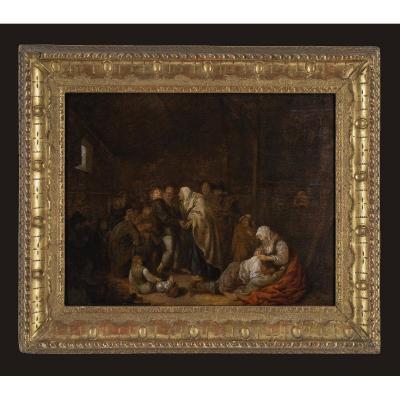 Jan Miense Molenaer (1609 / 10-1668) Scene In An Inn Oil On Panel