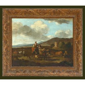 Karel Dujardin 1622-1678  Paysage Italien  Huile Sur Toile 50 X 66 Cm
