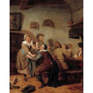 Quiringh Van Brekelenkam 1620-1668   A l'Auberge  Signé Et Daté : Q. Brekelenkam 1665.