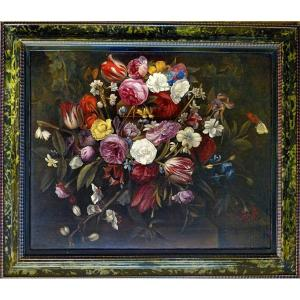 Jan Philip Van Thielen 1618-1667  Nature Morte Aux Fleurs Expertise Dr. Meijer Amsterdam