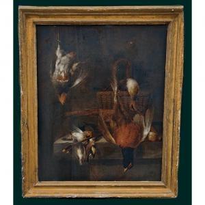 Jan Vonck 1641-1664  Nature Morte Avec Des Oiseaux   Signé Au Centre Sur La Table J. Vonck Fec.