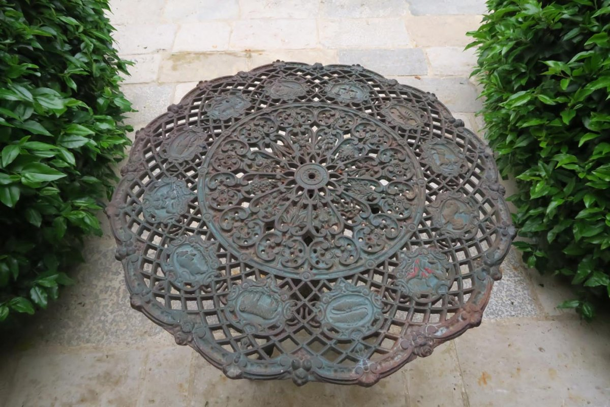 Table Of Cast Iron Garden Decorated With Zodiac Signs By Turquet Colas From 1884