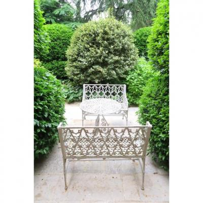 Set Of Two Gotic Style Benches And A Cast Iron Garden Table. XIX.