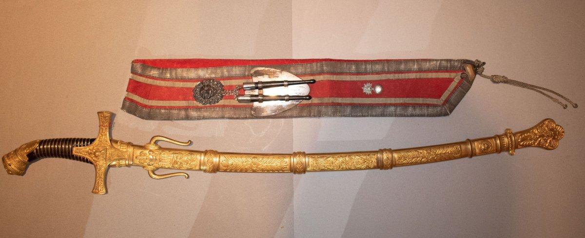 Sabre De Tambour Major. Poignée En Corne Avec Double Filigrane.