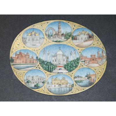Le Taj Mahal Huit Vues De Palais Indien. Miniature Ovale Sur Ivoire.