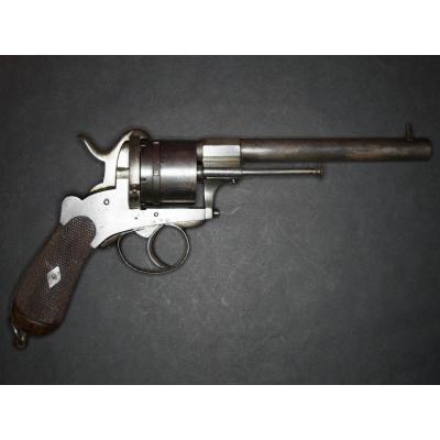 Revolver à Broche, Six Coups, Calibre 12mm. Canon Et Barillet Ronds. Carcasse Ouverte.