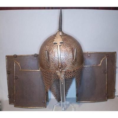Indo-persian Head Helmet Dit Kolah-khoud With Its Four Wrought Iron Protection Plates