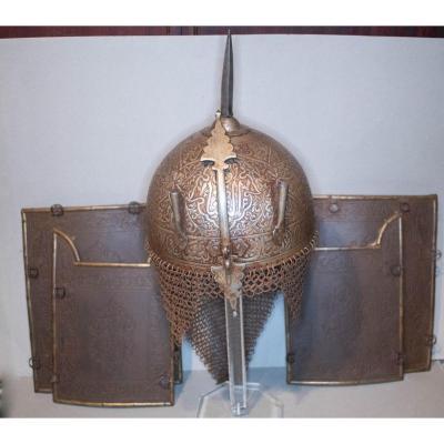 Casque à Pointe Indo-persan Dit Kolah-khoud Avec Ses Quatre Plaques De Protection En Fer Forgé