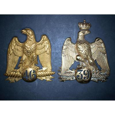 Two Shako Plates: Shako Plate From The 39th Line, With The Crowned Eagle. Shako Plate