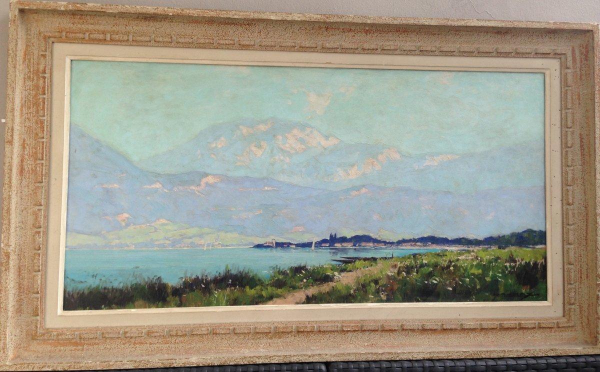 Le Lac d' Annecy Et La Tournette Par Léon Launay