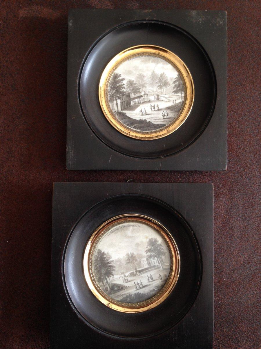 Paire De Miniatures Peintes En Grisailles. XIXème Siècle
