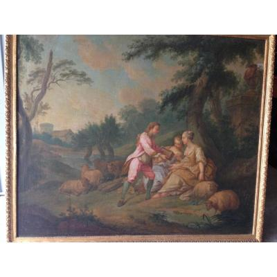 Great 18th Century Canvas, Country Scene.