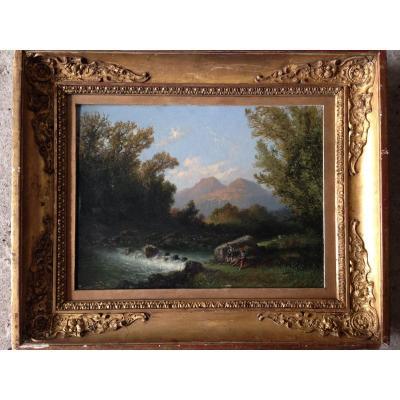 Peintres Dans Un Paysage De Montagnes . Louis François Thomas.