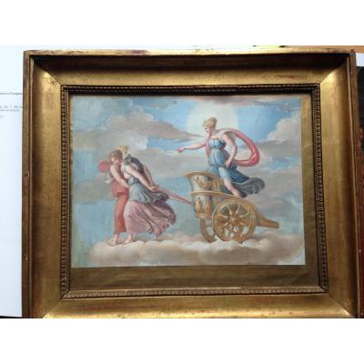 Tableau Gouache Italienne Néoclassique Vers 1800
